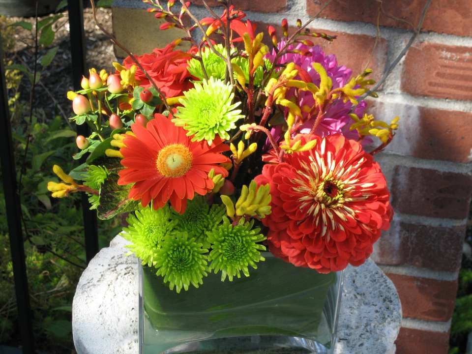 tropical wedding centerpiece kangroo paw, zinnia button mum hypericum berry