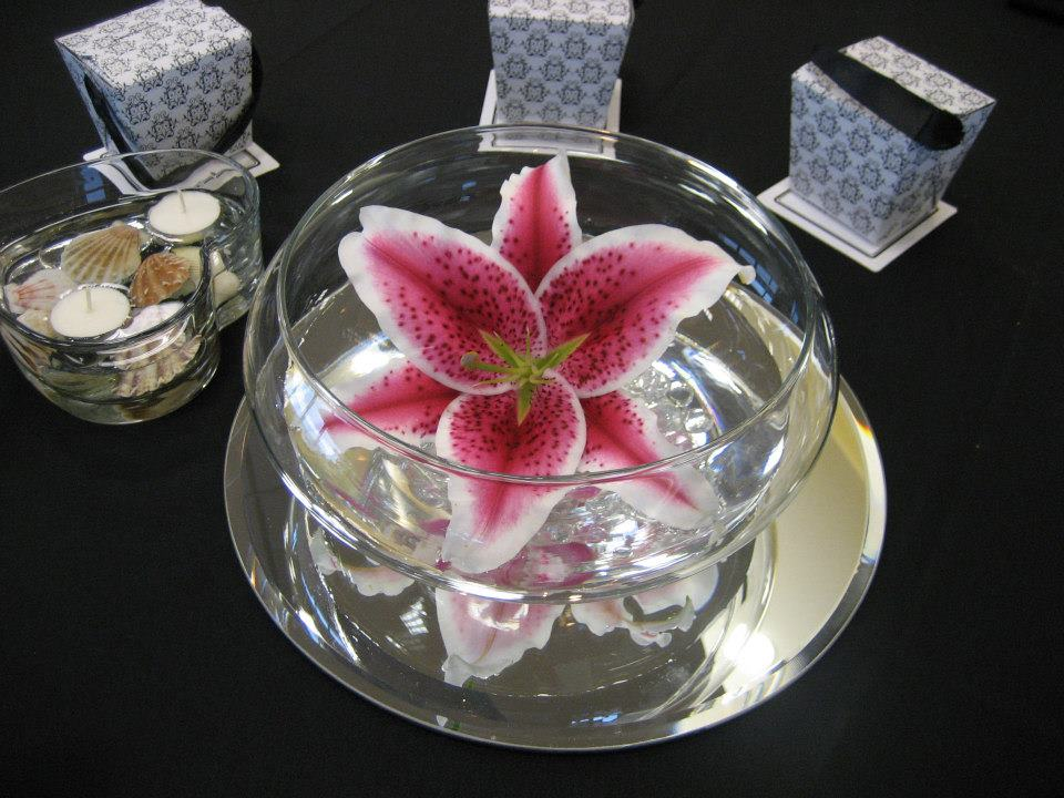 Wedding reception Stargazer lily floating bowl