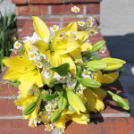 Bride's bouquet of flowers with yellow lily, and fever few daisy.