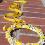 Flower girl crown with fever few daisy and yellow ribbon