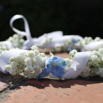Flower girl crown with babys breath, blue delphinium flowers