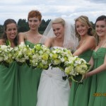 bridal bouquets with green roses, white roses, green hydrangea, hostas