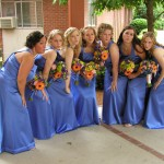 bridesmaid bouquets with yellow daisy, pink roses, orange gerbera daisy, green pom