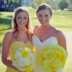 bride's and bridesmaid bouquet with yellow and white dahlias
