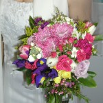 bridal bouquet with roses, Iris, tulips and mums