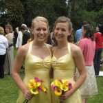 Bridesmaid bouquet with yellow and pink calla lily