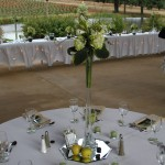 Reception centerpiece with green hydrangea, freesia, curly willow, and hostas
