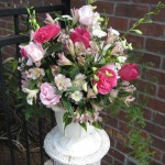 baronesse garden roses, pink roses and alstromeria with orchids