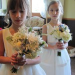 jr. bridesmaid bouquets with hydrangea and white dahlia and roses