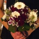 bridal bouquet with white gerbera and roses