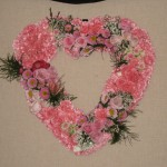 Wedding pink heart with pink roses, pink carnations