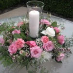 May 2010 Pink roses and white hurricane, center piece