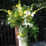 Yellow green and orchids