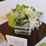 wedding table center piece, with green mum, hydrangea, green poms
