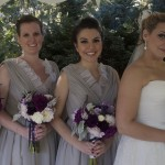 wedding bouquets with purple dahlias, lavender roses, and dusty miller