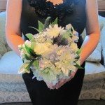 bridasmaid bouquet with white dahlia, hydrangea, roses, veronica