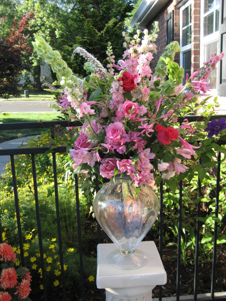 july 2013 Wedding ceremony bouquet with pink roses