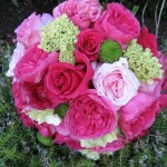 bridal bouqet with baronesse garden roses, pink garden roses, green hydrangea, hot pink roses, green poms