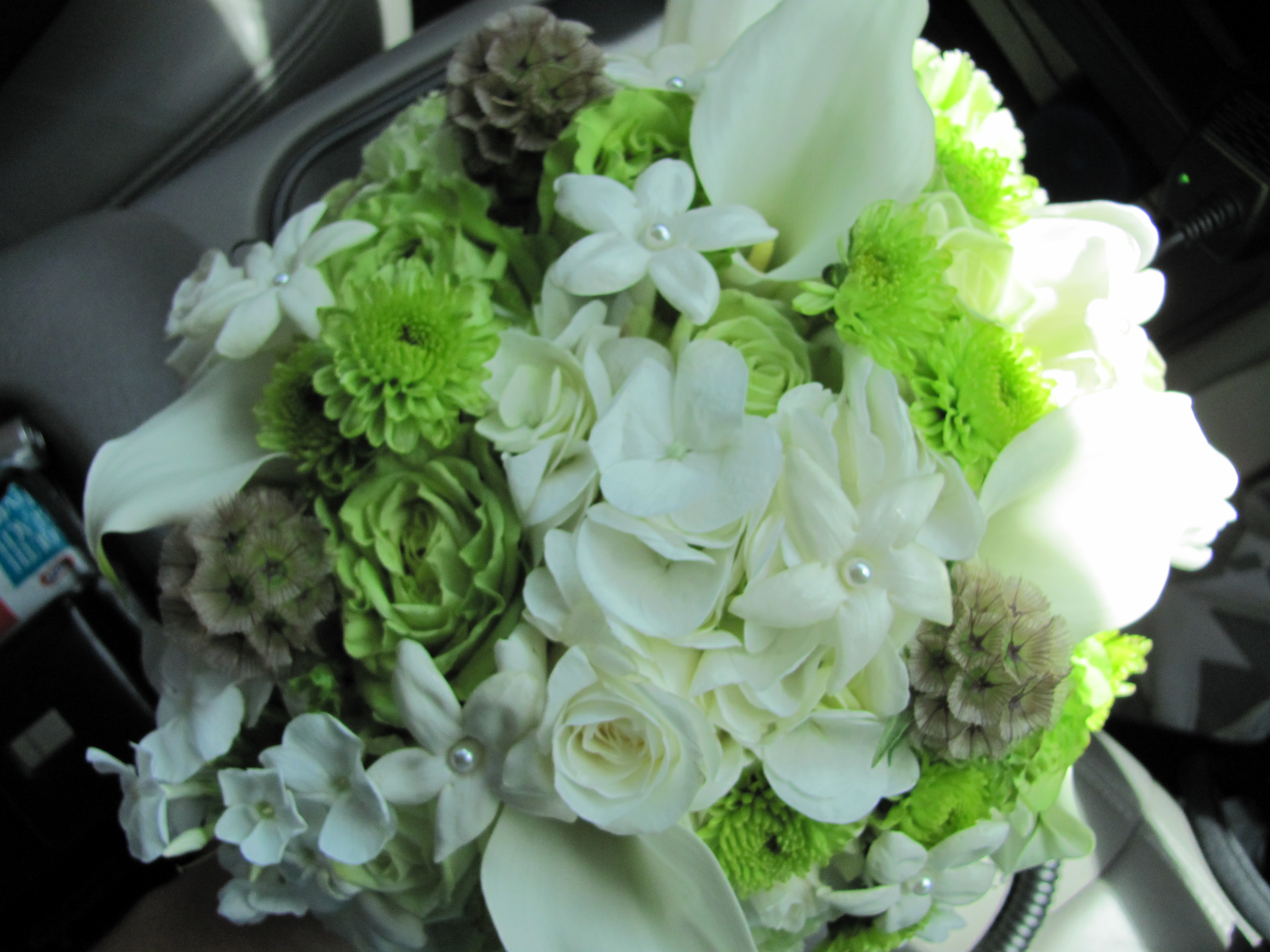 Flowersbydiana Wedding Bouquet Green Roses White Hydrangea And